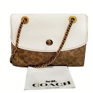 Coach Signature Leather Shoulder Bag$350.00
